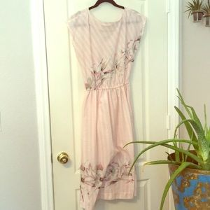 Vintage pink and white pinstripe floral dress